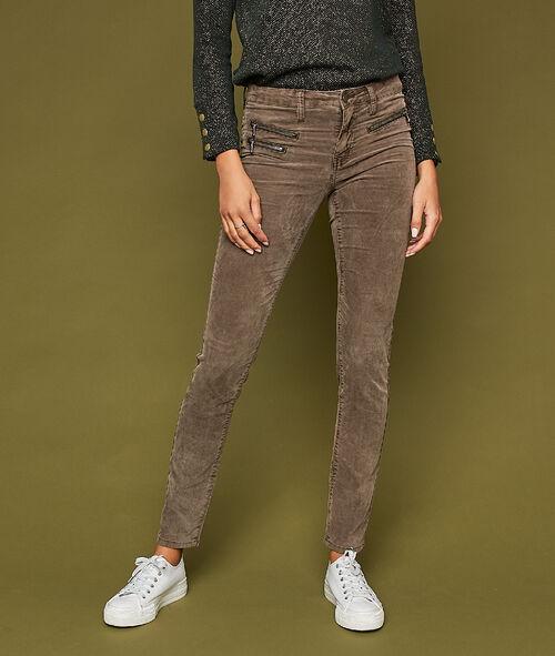 Pantalon slim en velours avec zips