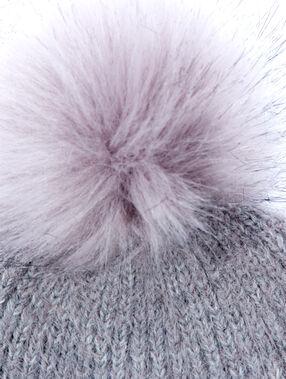 Bonnet avec pompon gris chine fonce.