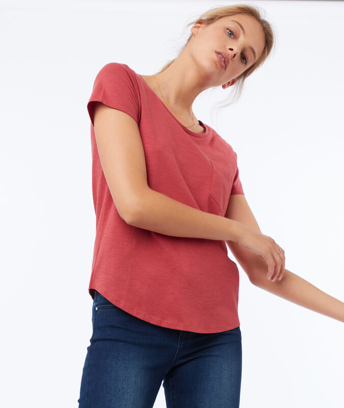 T-shirt col rond en coton rose framboise.