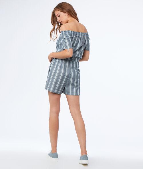 Combi-short à rayures épaules dénudées
