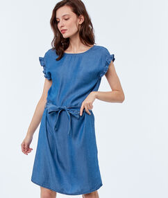 Robe avec ceinture en tencel® bleu délavé moyen.