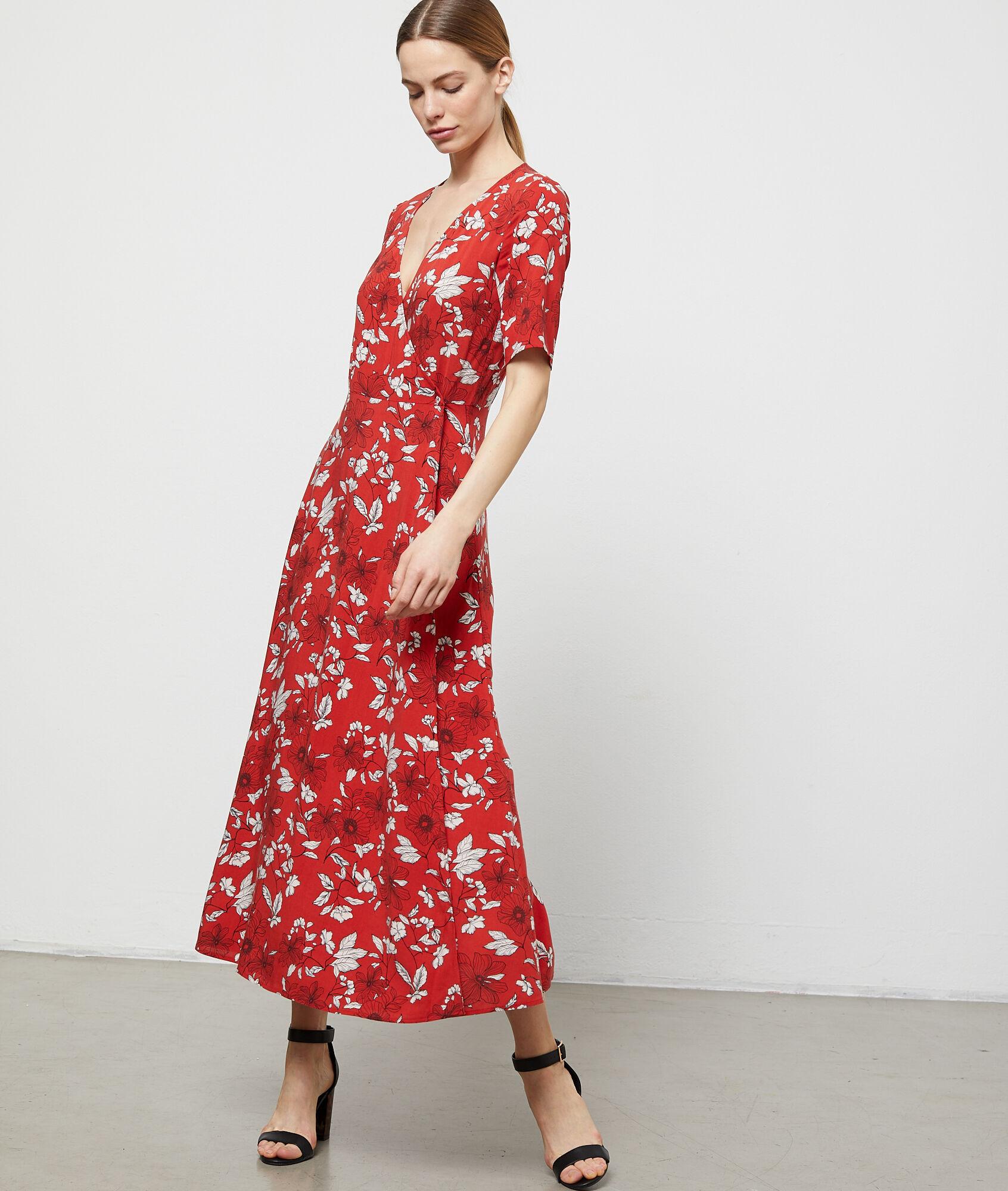 275c020de29 Robe longue cache cœur à imprimé floral - BERYL - ROUGE - Etam