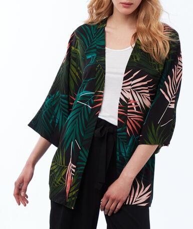 Kimono à imprimé feuilles noir.