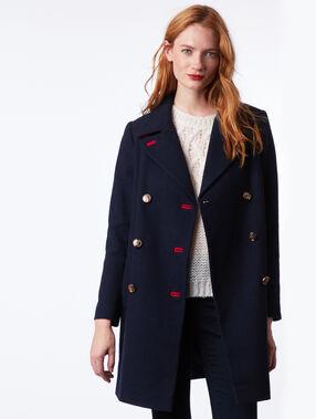 Manteau masculin boutonné marine.