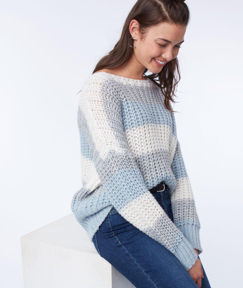 PULL GROSSE MAILLE À RAYURES