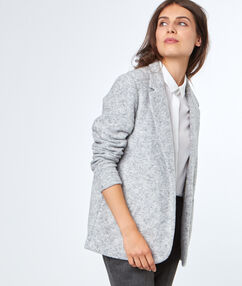 Veste col tailleur gris chine clair.
