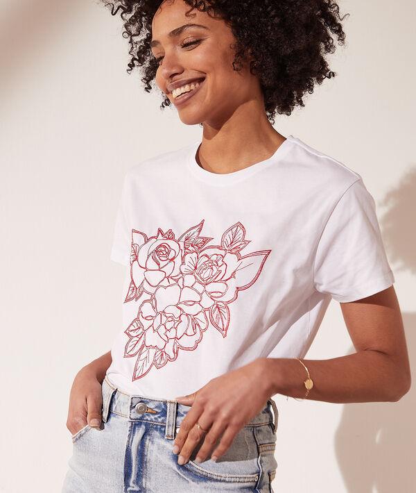 T-shirt avec roses brodées
