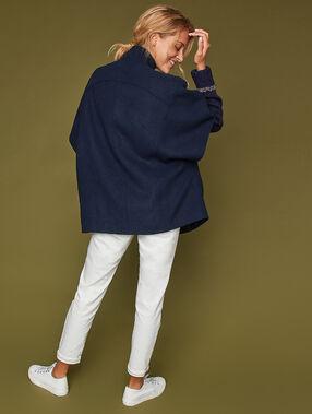 Manteau manches chauve-souris marine.