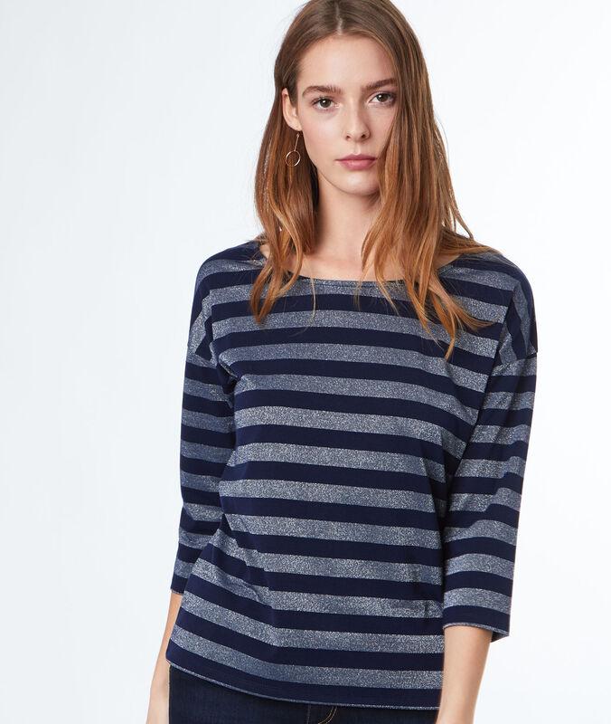 T-shirt manches 3/4 à rayures bleu marine.