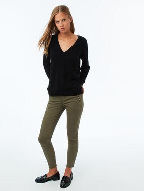 Pantalon slim avec zips kaki.