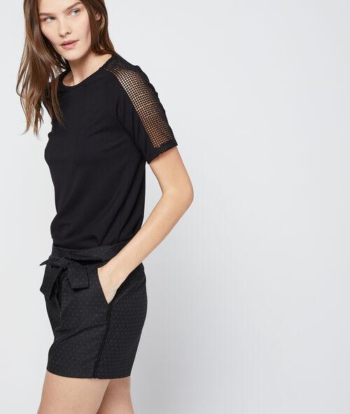 T-shirt manches guipure dos zippé