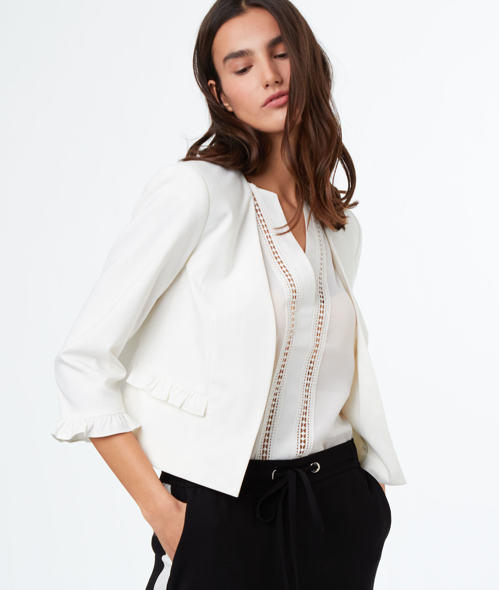 veste blanc femme taille 48 vestes la mode 2018. Black Bedroom Furniture Sets. Home Design Ideas