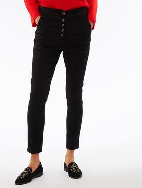 Pantalon carotte boutonné taille haute noir.