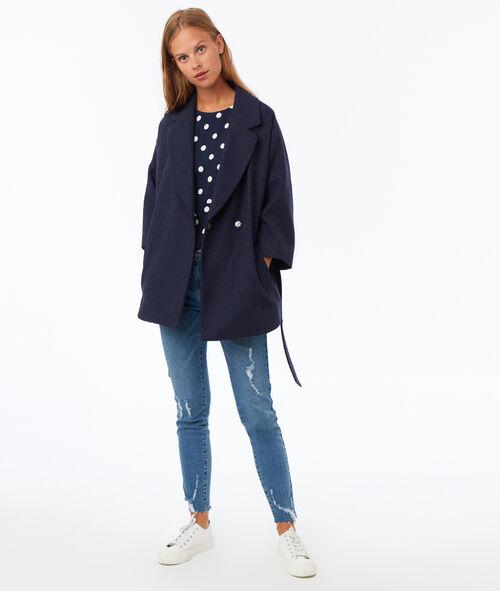 Manteau uni 3/4 avec ceinture