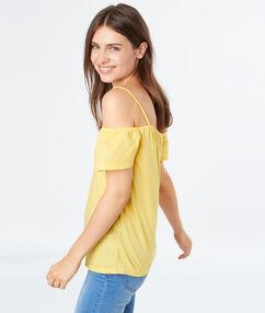 Top épaules dénudées jaune.