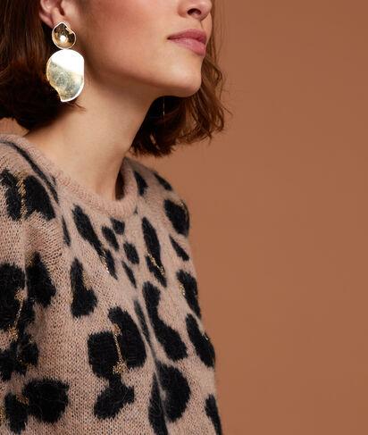 Pull imprimé léopard à fils métallisés