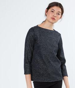 Pull en coton épaules boutonnées gris metallise.