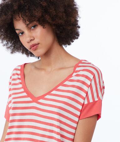 T-shirt col v à rayures abricot.