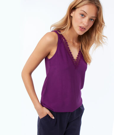 Top en coton à guipures violet.