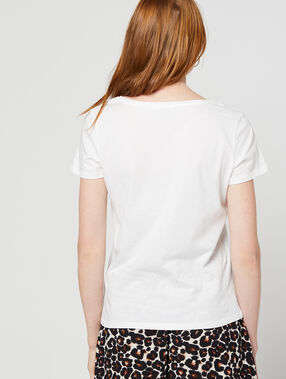 "T-shirt ""love"" brodé 100% coton ecru."