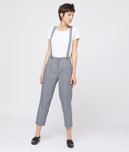 Pantalon imprimé vichy à bretelles