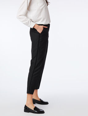 Pantalon cigarette à pois noir.
