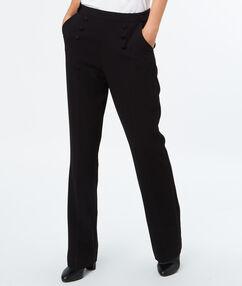 Pantalon large boutonné noir.
