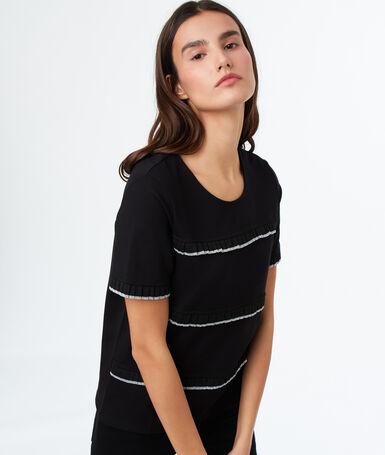 T-shirt col rond noir.