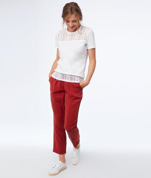 T-shirt manches courtes à guipures
