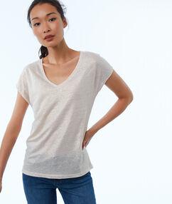 T-shirt en lin col v nude.