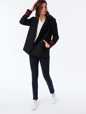 Manteau à bandes en laine mélangée noir.