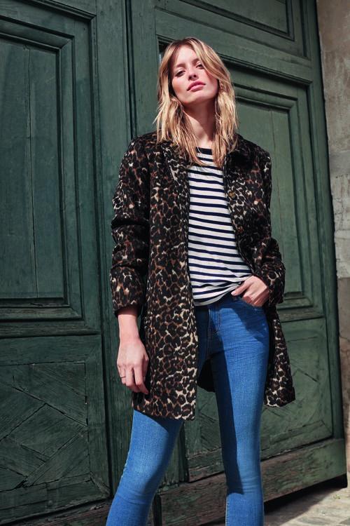 Manteau 3/4 imprimé léopard en laine mélangée