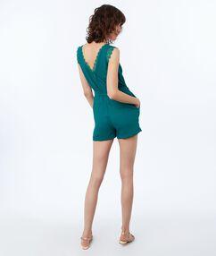 Combi-short noué à la taille vert émeraude.