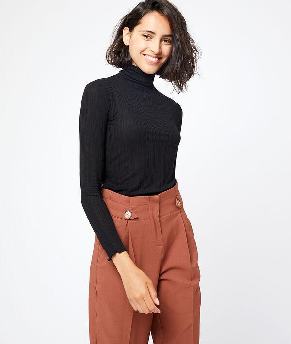 T-shirt côtelé à col roulé - POINTY - XS - Noir - Femme - Etam