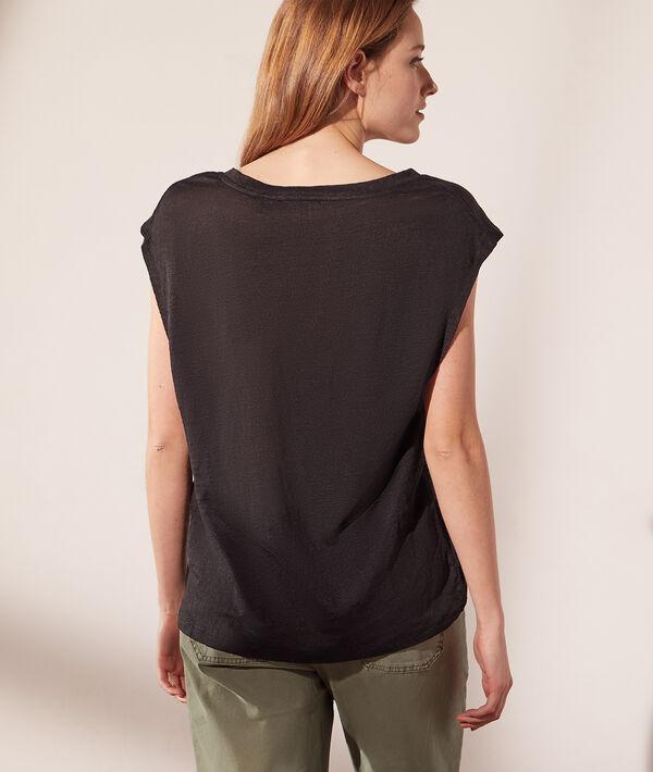 T-shirt col V en lin