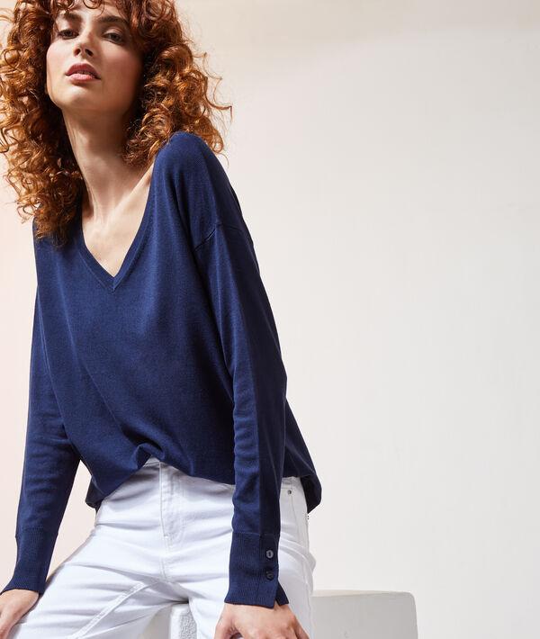 Pull col v - CAMILLE - S - Bleu - Femme - Etam