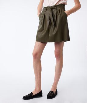 Jupe taille haute effet cuir kaki.
