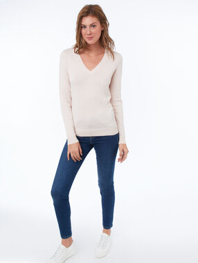 Pull col v nude.