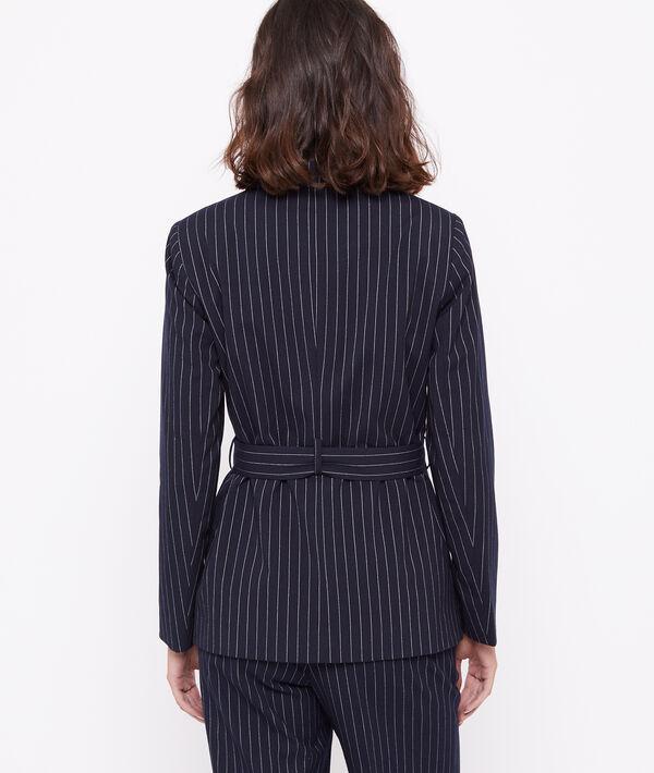 Veste de tailleur ceinturée à rayures