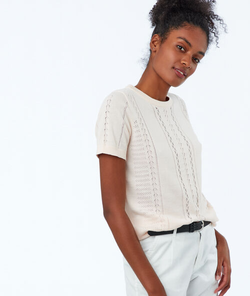 Pull manches courtes en tricot
