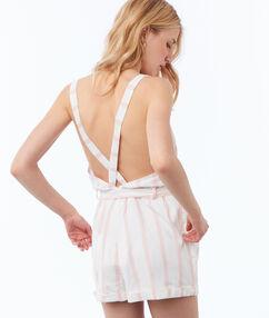 Combi-short à rayures dos croisé rose pâle.