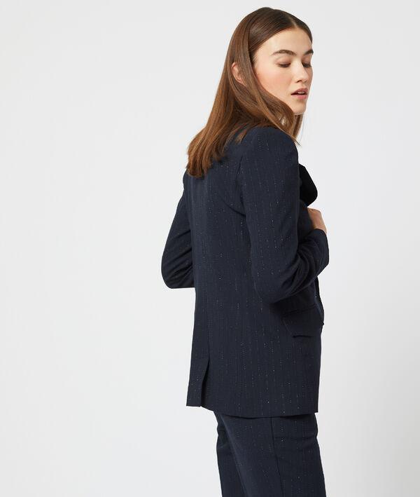 Veste de tailleur à rayures et fils métallisés