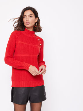 Pull 100% coton en grosse maille rouge.