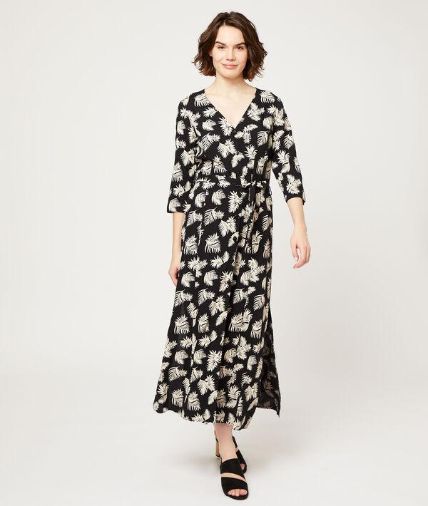 Robe longue imprimé feuillage