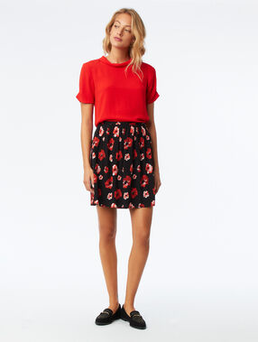 Blouse col montant dos ouvert coquelicot.
