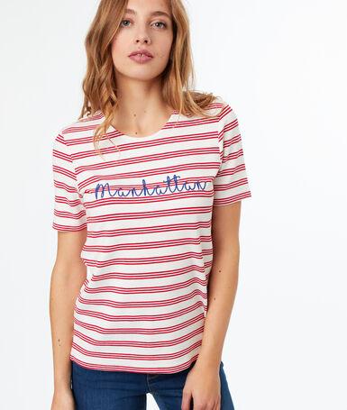 "T-shirt imprimé ""manhattan"" rouge."