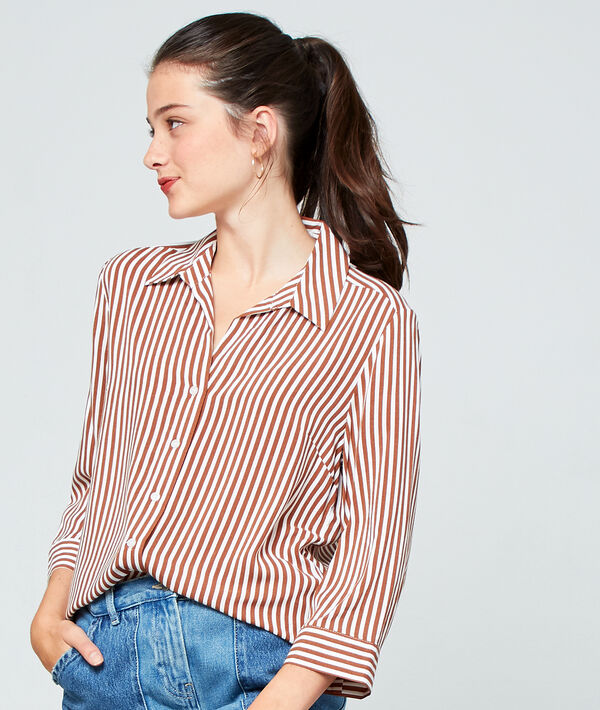 Chemise à rayures - FILY - 44 - Marron - Femme - Etam