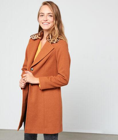 Manteau masculin col fausse fourrure