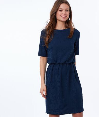 Robe motif ton sur ton noeud au dos bleu d'encre.