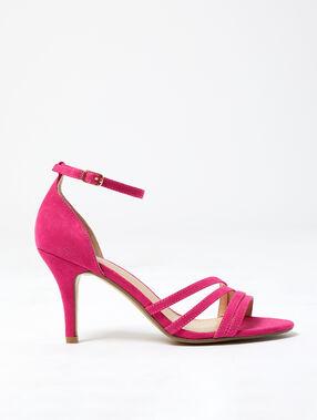 Sandales à talons effet daim framboise.